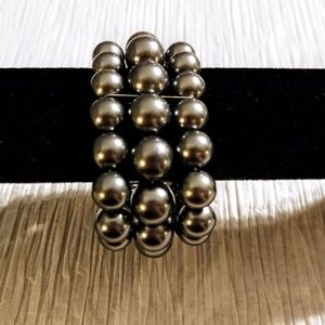 Three Strand Gray Pearl Bracelet